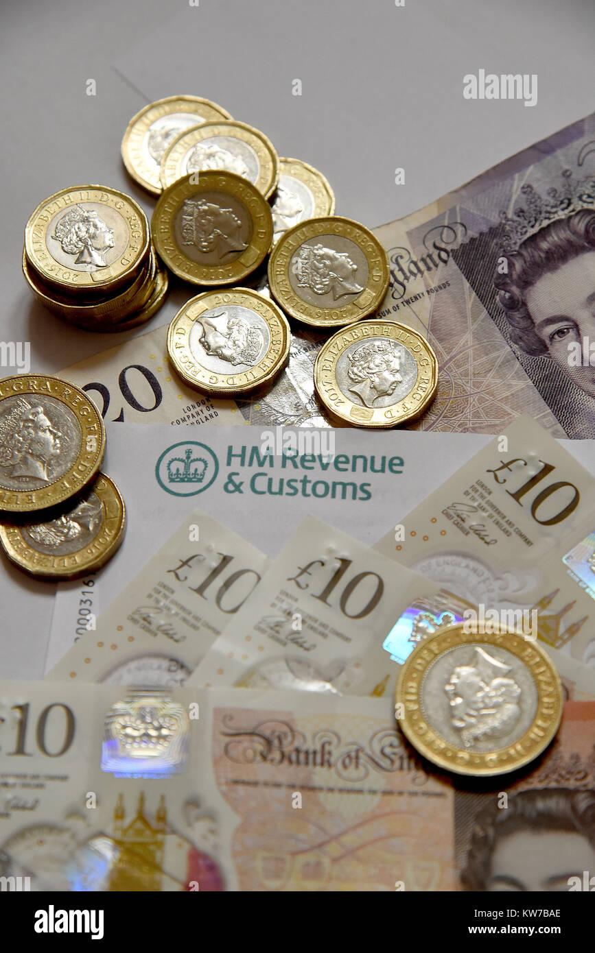HM Revenue & Customs Self Assessment Statement  income tax return Stock Photo