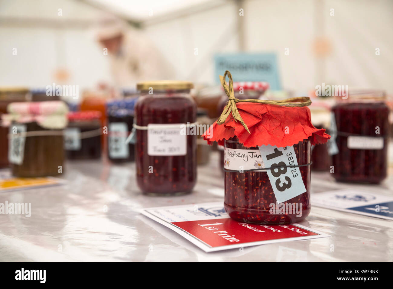 Prize-winning preserve, home industries tent, Bellingham Show, Bellingham, Northumberland, UK, August 2017 - Stock Image