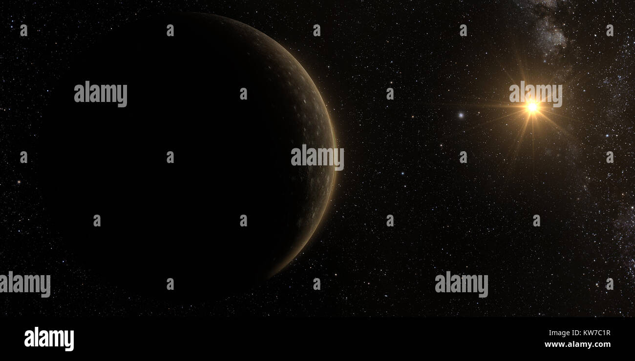 A rendered Image of the Jupiter Moon Callisto on a starry background. 3D rendering. - Stock Image