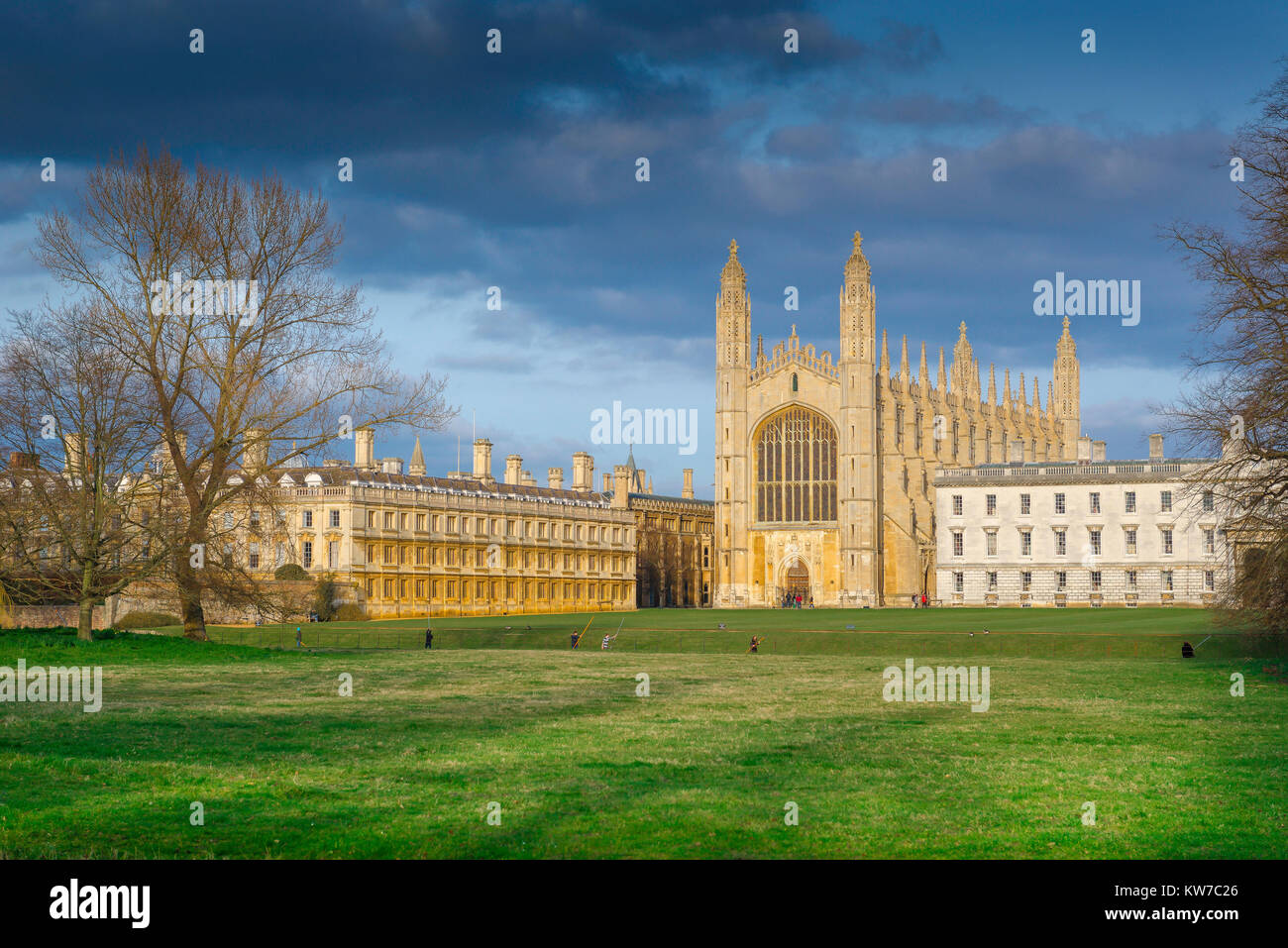 King's College Cambridge, view from the Backs (water meadow) towards the western end of King's College Chapel - Stock Image