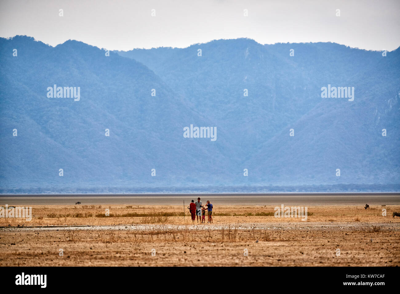 walking safari with Masai, Lake Manyara National Park, Tanzania, Africa Stock Photo