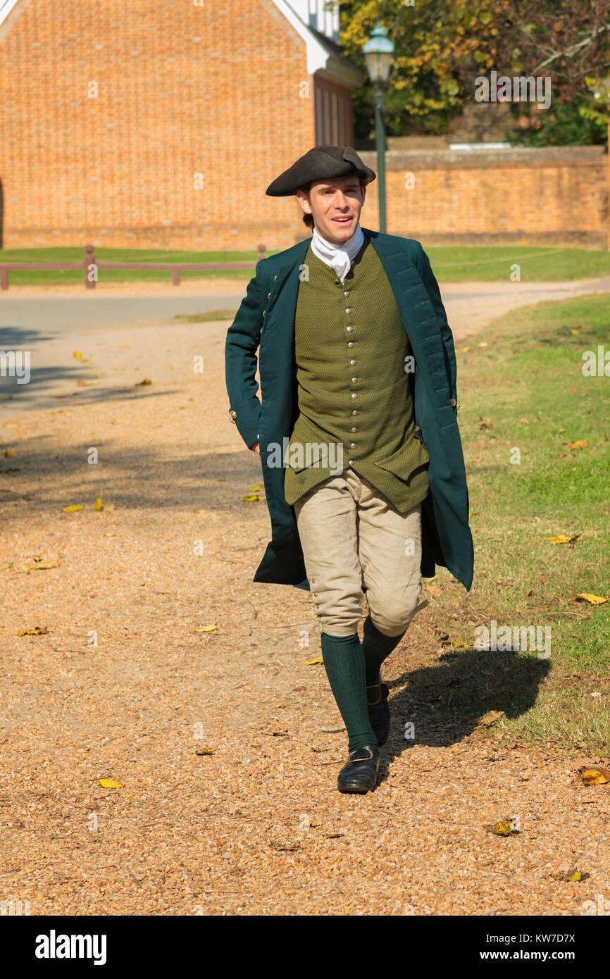 Colonial Williamsburg costumed interpreter. - Stock Image