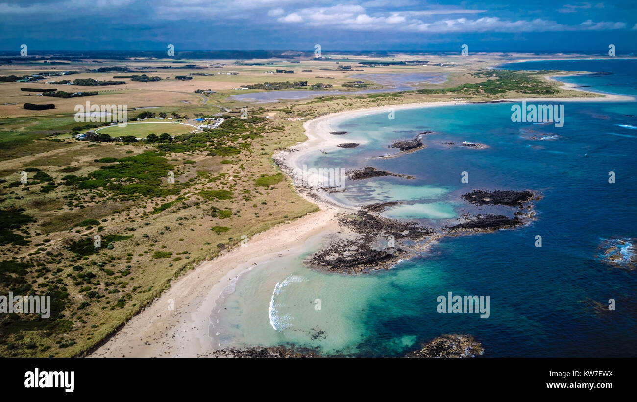 Landscape drone view of the beach near Warnambool, Victoria, Australia. - Stock Image