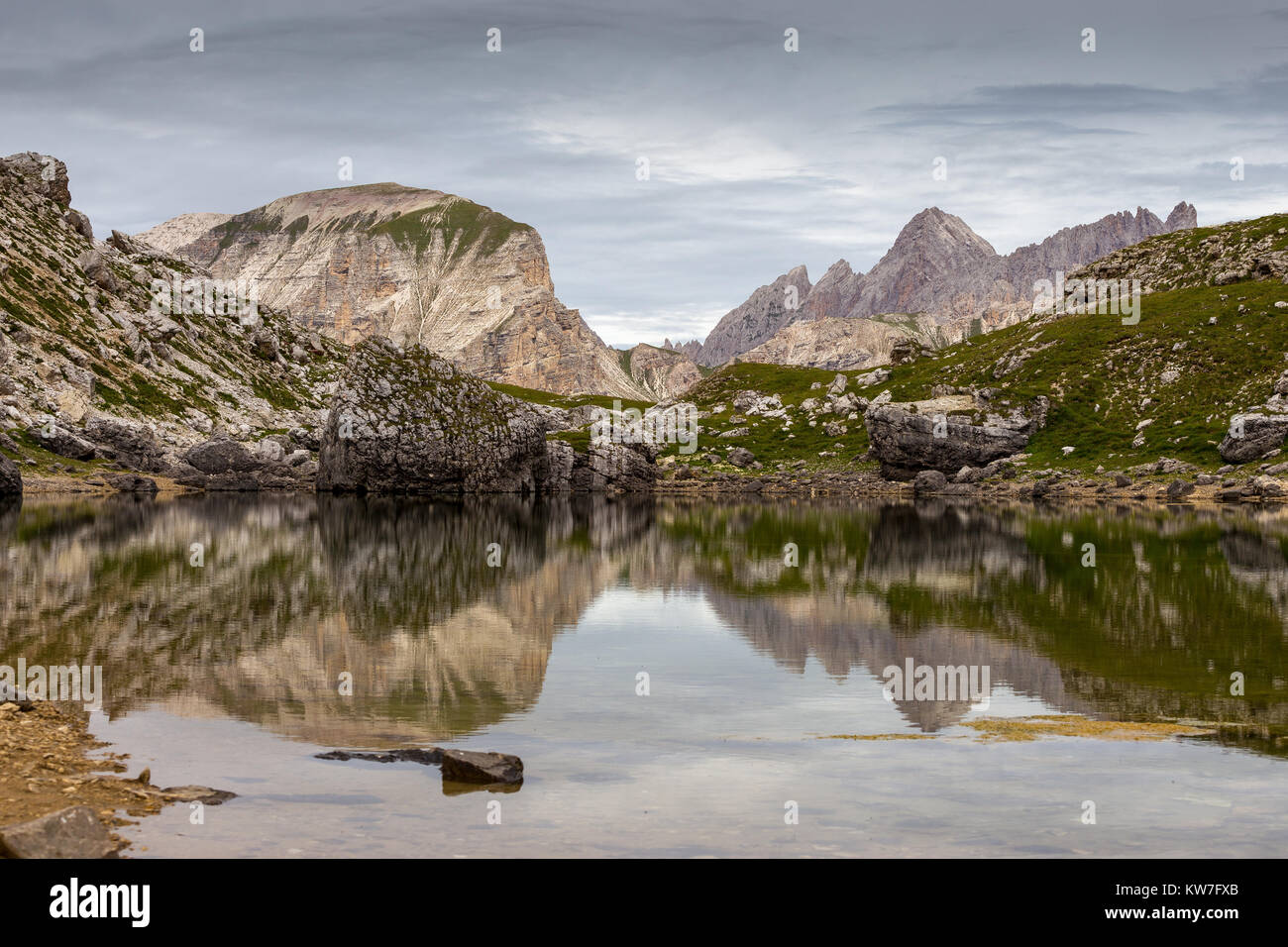 Lago di Crespeina.  Alpine lake. Puez - Odle natural park. The Dolomites. - Stock Image