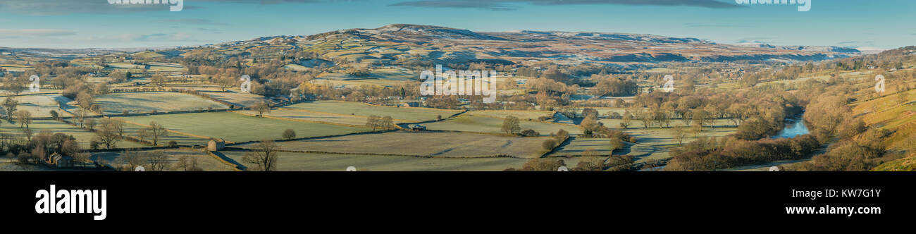 North Pennines Panoramic Rural Landscape, Lunedale and Teesdale on a fine frosty winter morning from Whistle Crag - Stock Image