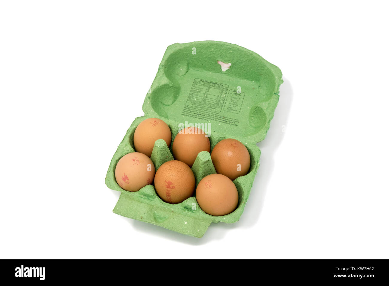 Carton of half a dozen free range British eggs stamped with egg codes - Stock Image