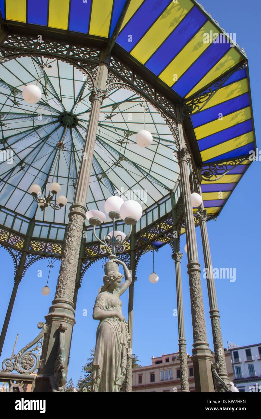 Art nouveau bandstand in the public gardens of Villa Comunale, Chiaia - Naples Italy Stock Photo