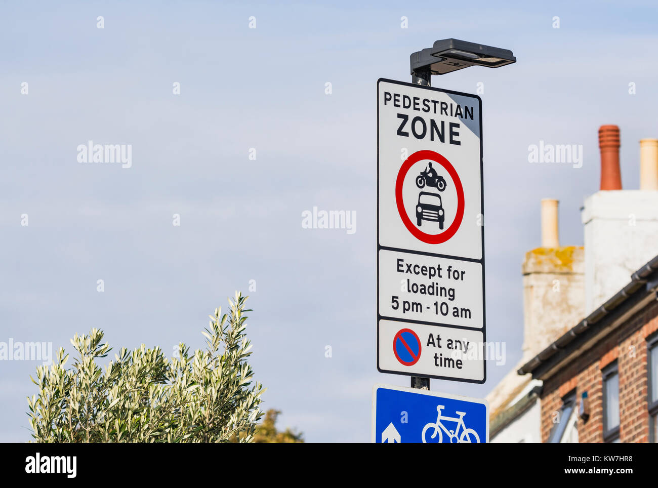 Pedestrian Zone restricted access road sign in England, UK. - Stock Image