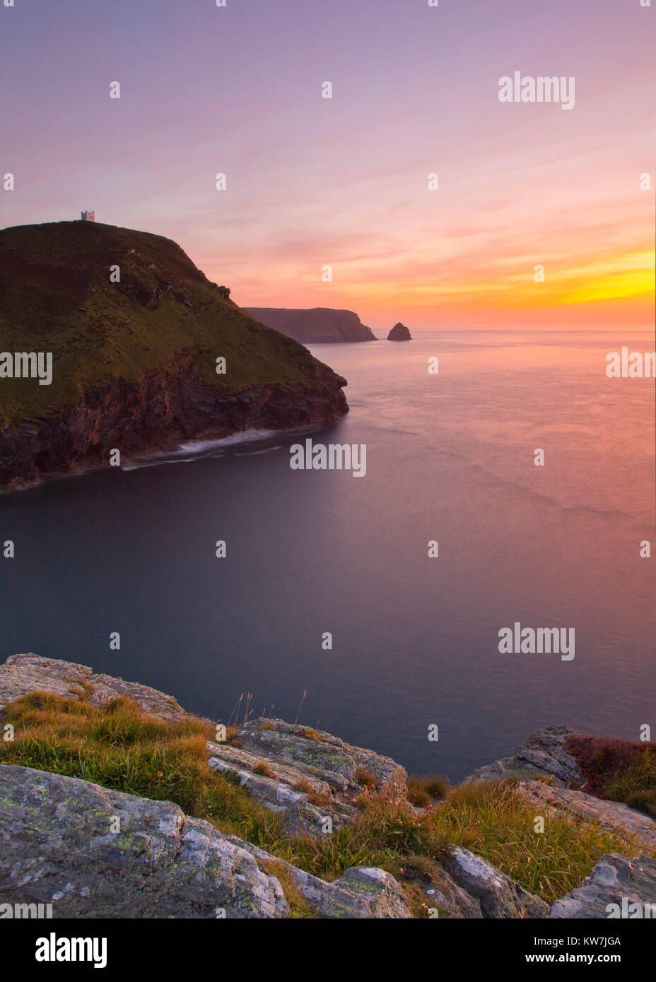 Sunsetting over water off Boscastle, Cornwall - Stock Image
