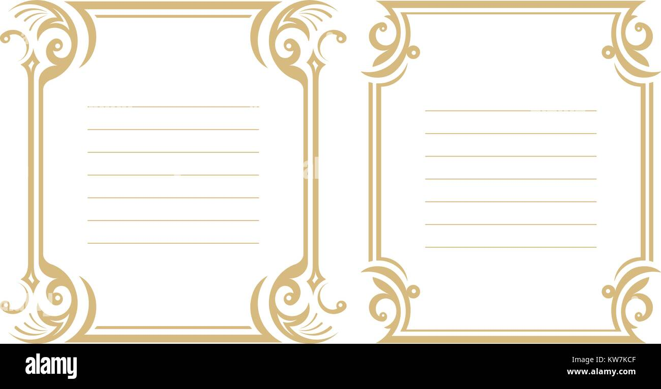 Pair of lined decorative frame in gentle tones. - Stock Vector