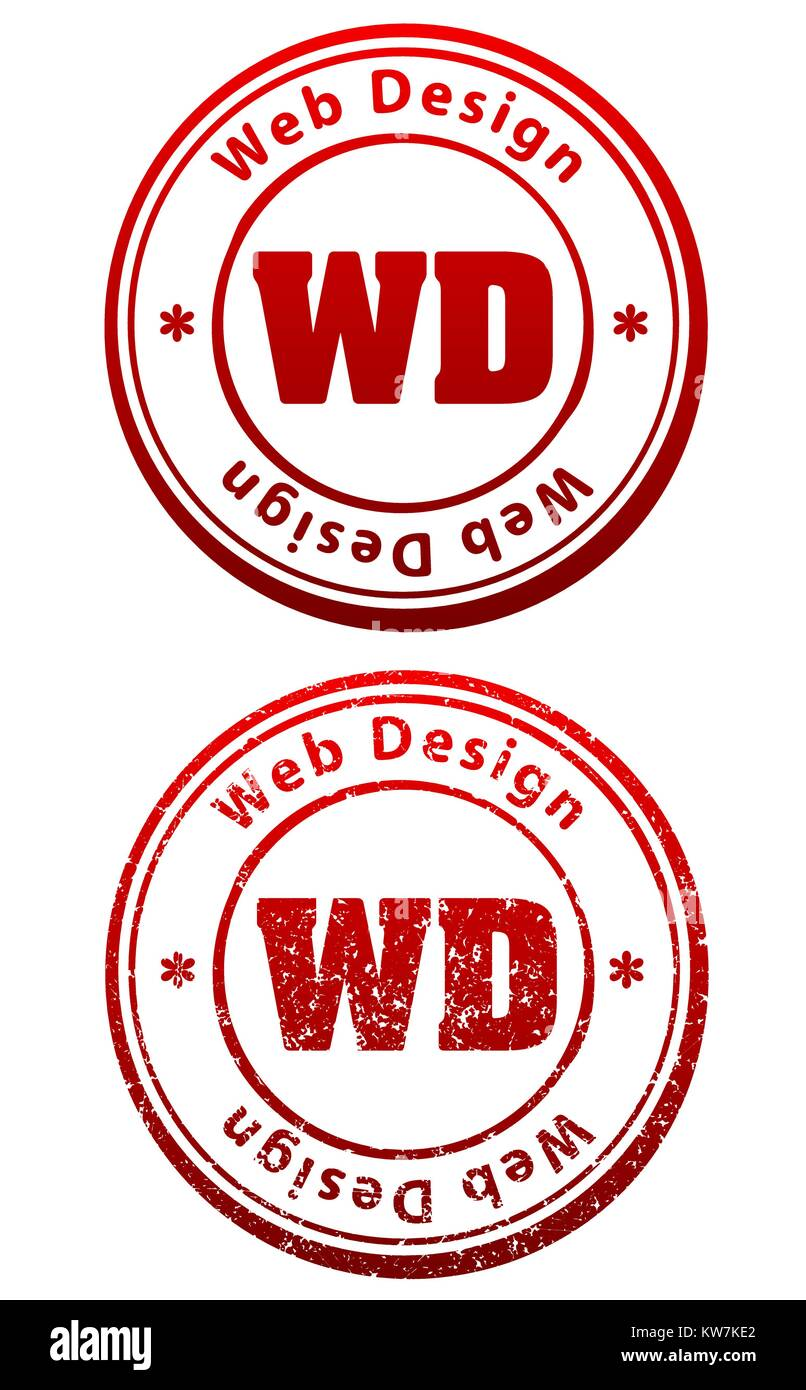Pair Of Red Rubber Stamps In Grunge And Solid Style With Caption Web Design Abbreviation WD