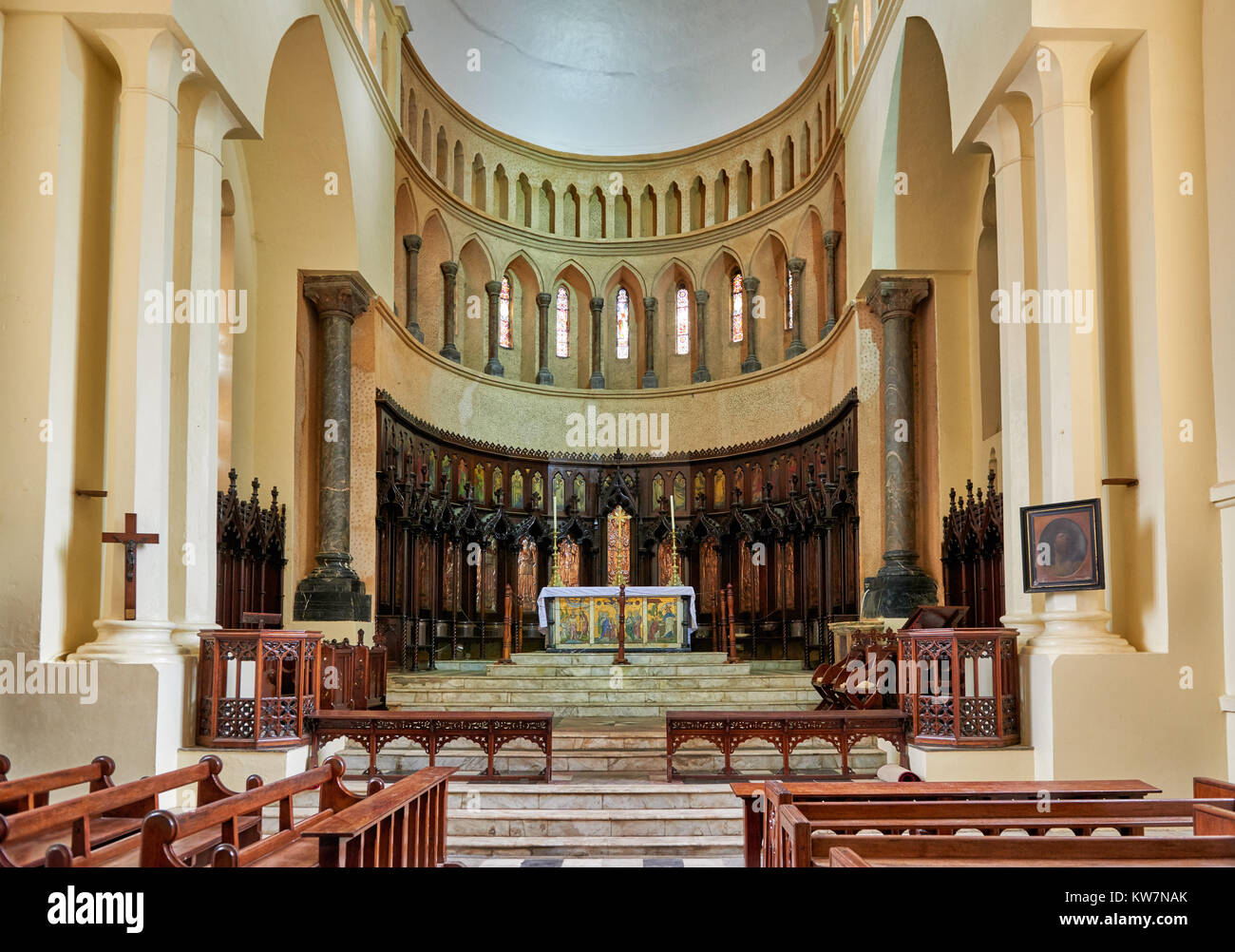 interior shot of Anglican Cathedral in Stone Town, UNESCO World Heritage Site, Zanzibar, Tanzania, Africa - Stock Image