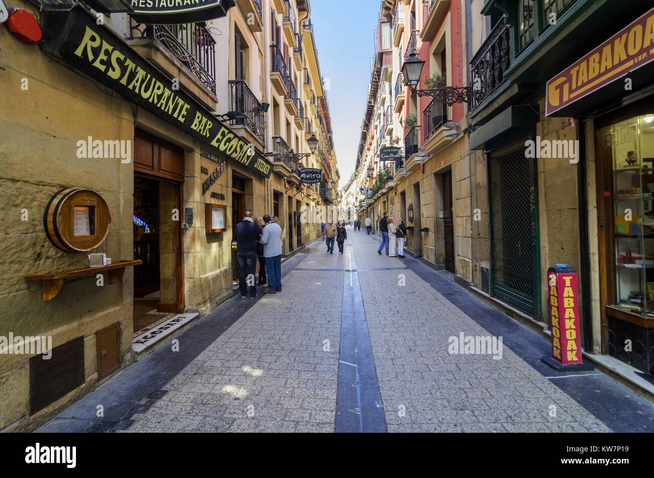 Old town street of Parte Vieja in San Sebastian, Gipuzkoa, Spain - Stock Image