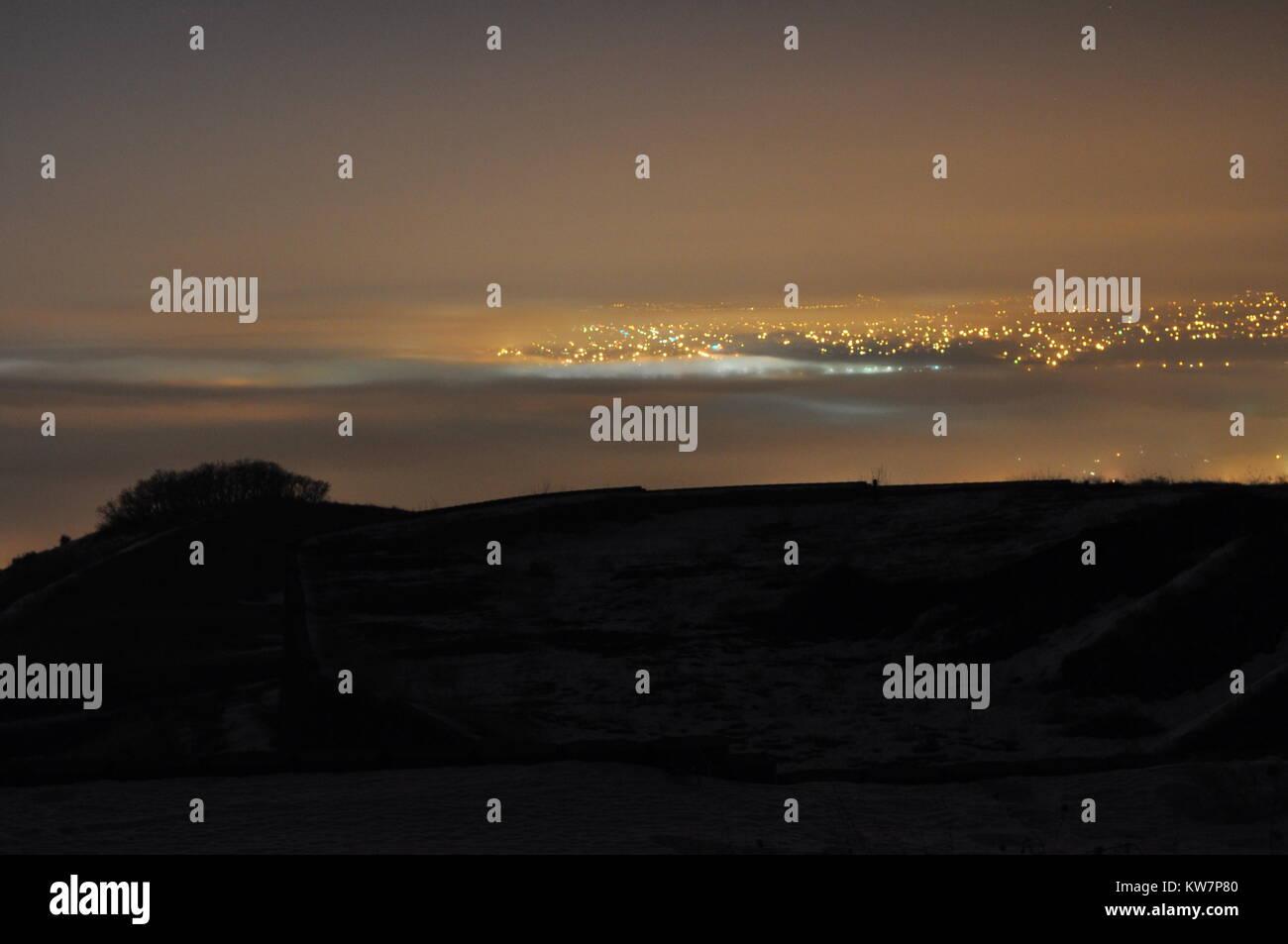 Winter Fogbank over Salt Lake City - Stock Image