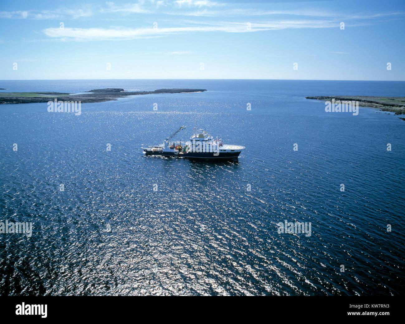 iriish lights service ship off west coast of ireland Stock Photo