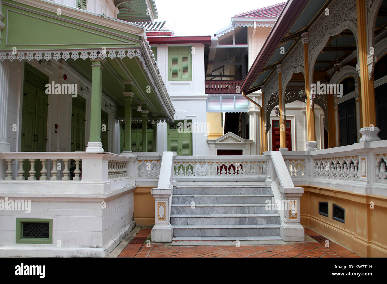 Europen style buildings in the Wat Bowonniwe, Bangkok, Thailand - Stock Image
