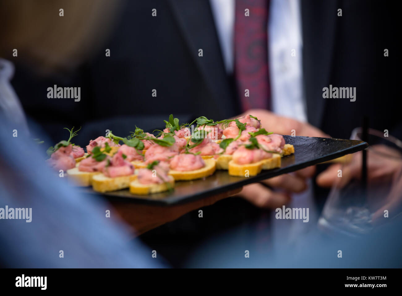 Wedding garden party reception with canapés served to guests at Taunton - Stock Image