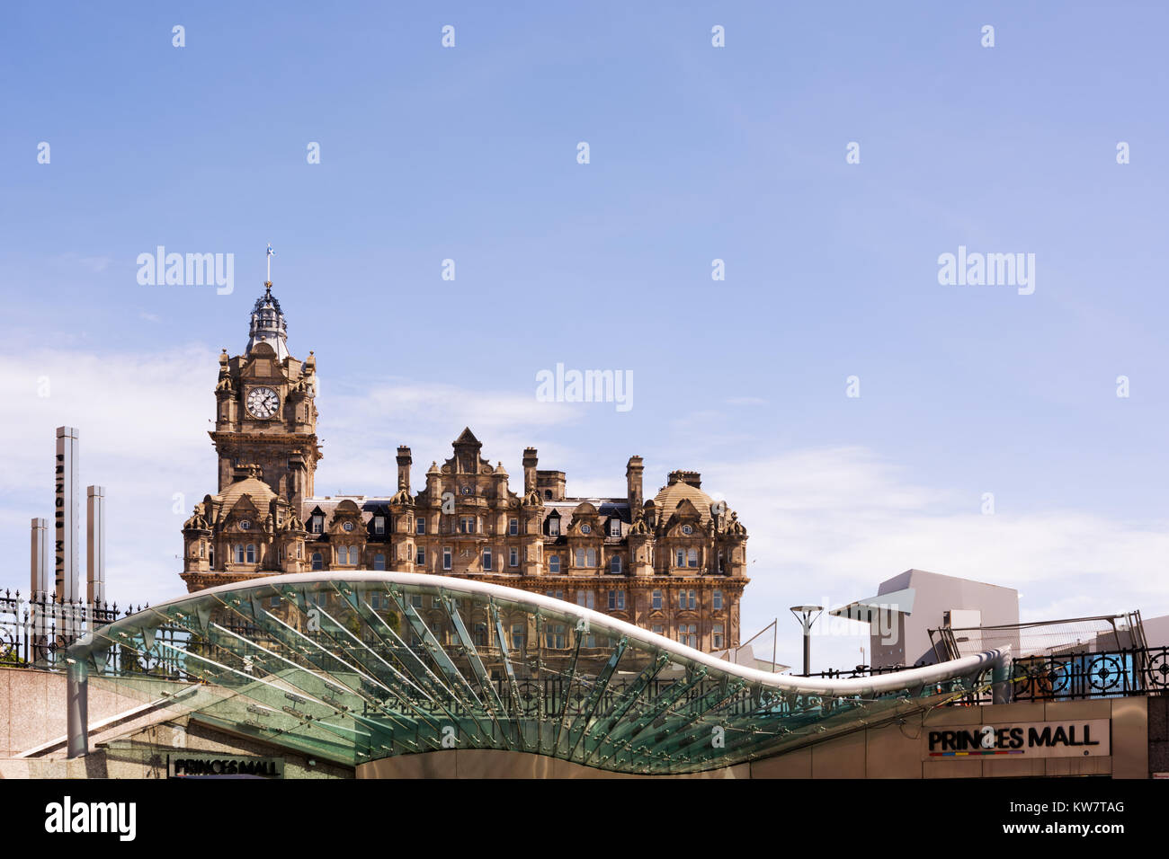 Entrance to Waverley Mall with the Balmoral Hotel in the background, Edinburgh, Scotland, UK. Concept - modern and - Stock Image