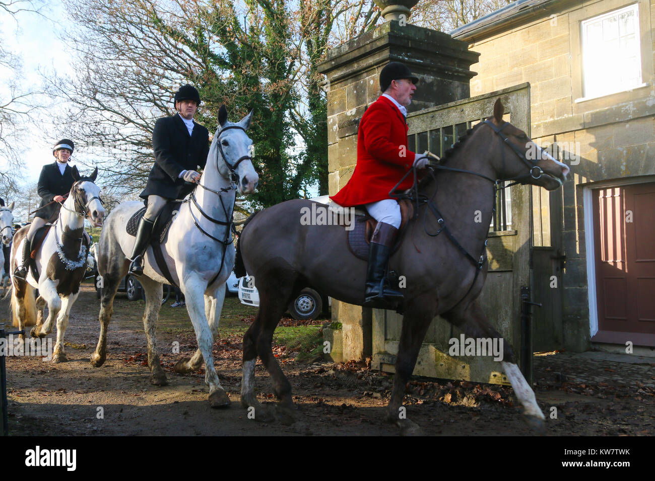 Boxing day legal drag hunt with hounds in Petworth, West Sussex (not a fox hunt) - Stock Image