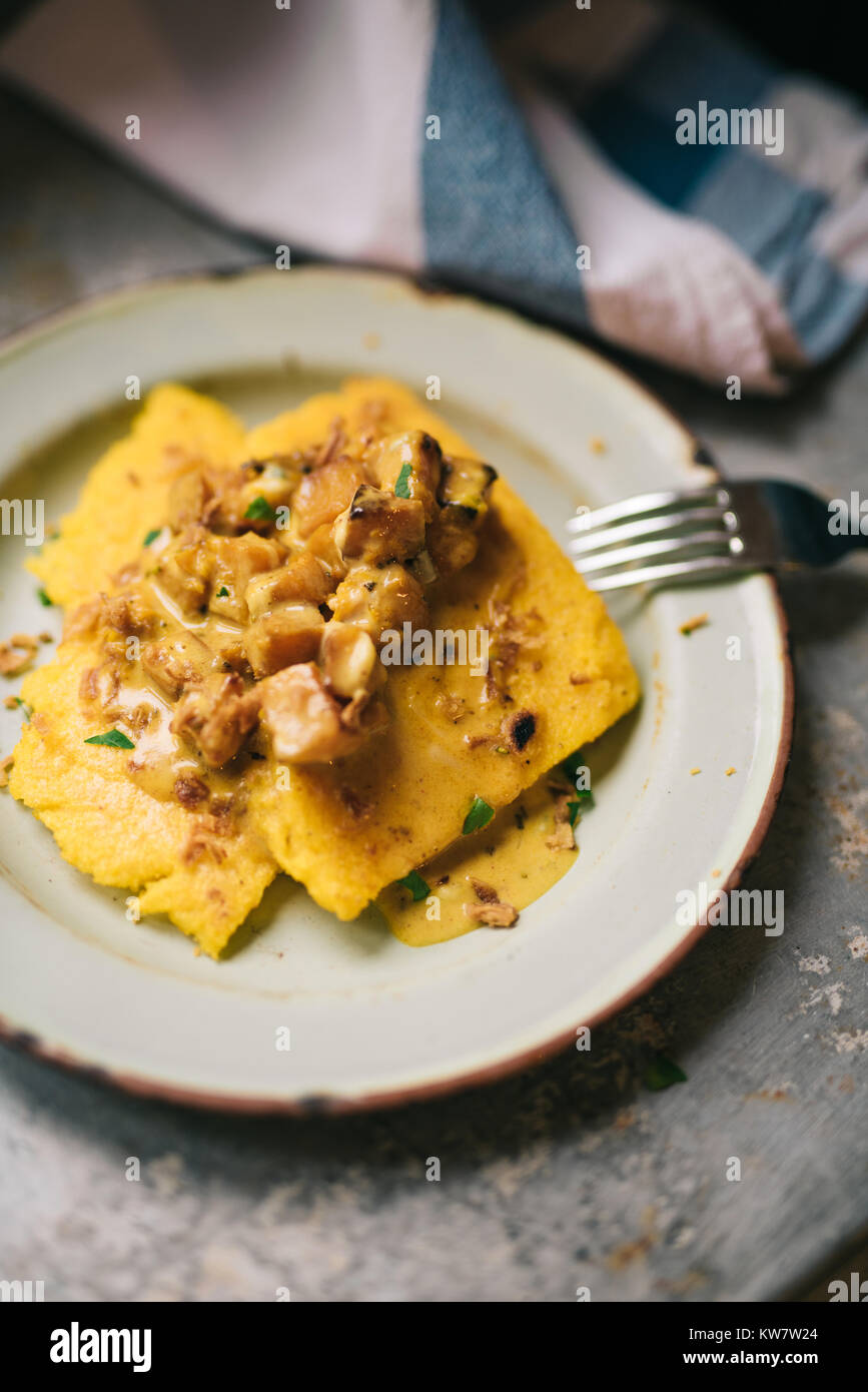 Polenta with butternut squash in cream. Sprinkled with fried onion. - Stock Image