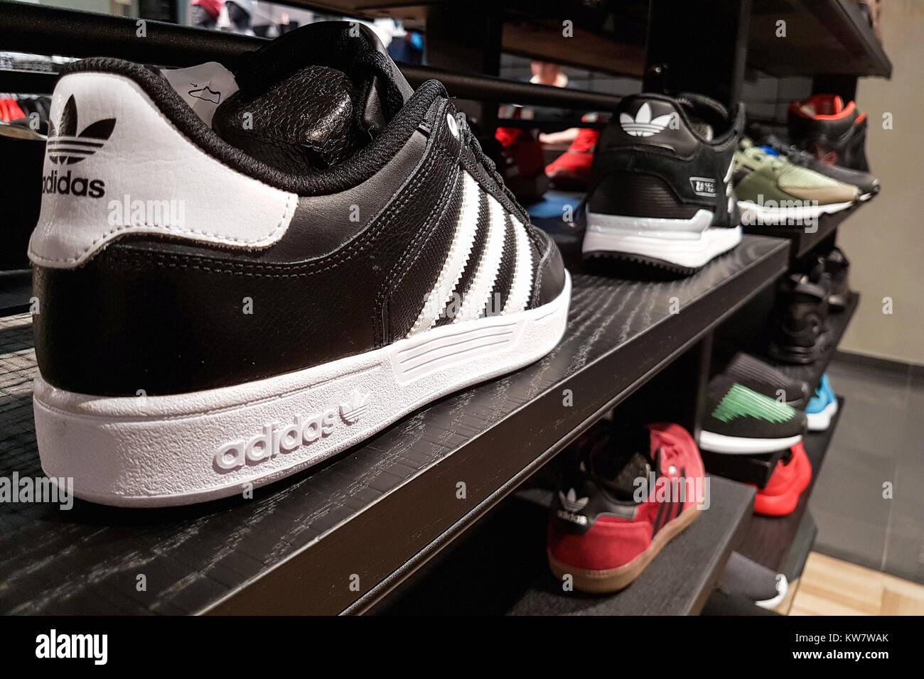 Lubin, Poland - November 17, 2017: Collection of trendy Adidas ...