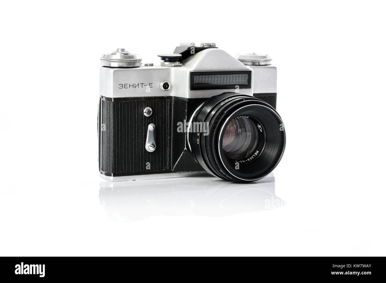Krynica, Poland - December 29, 2017: Legendary Soviet 35 mm SLR camera Zenit-E with Helios 44mm lens isolated on - Stock Image