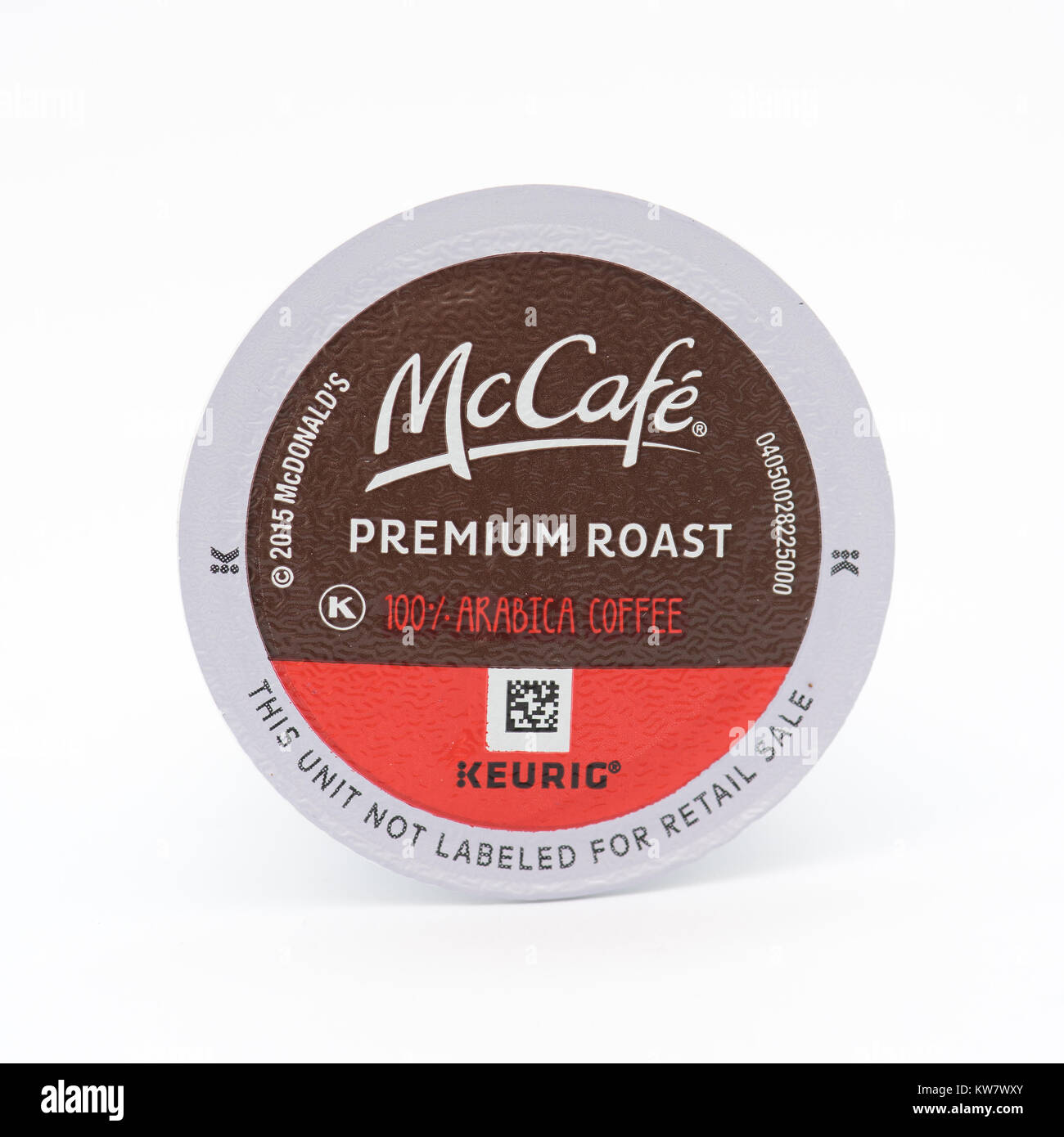 A single serving K-CUP pod of McDonald's McCafe smooth and balanced Arabica coffee for use in Keurig K-CUP brewers. - Stock Image