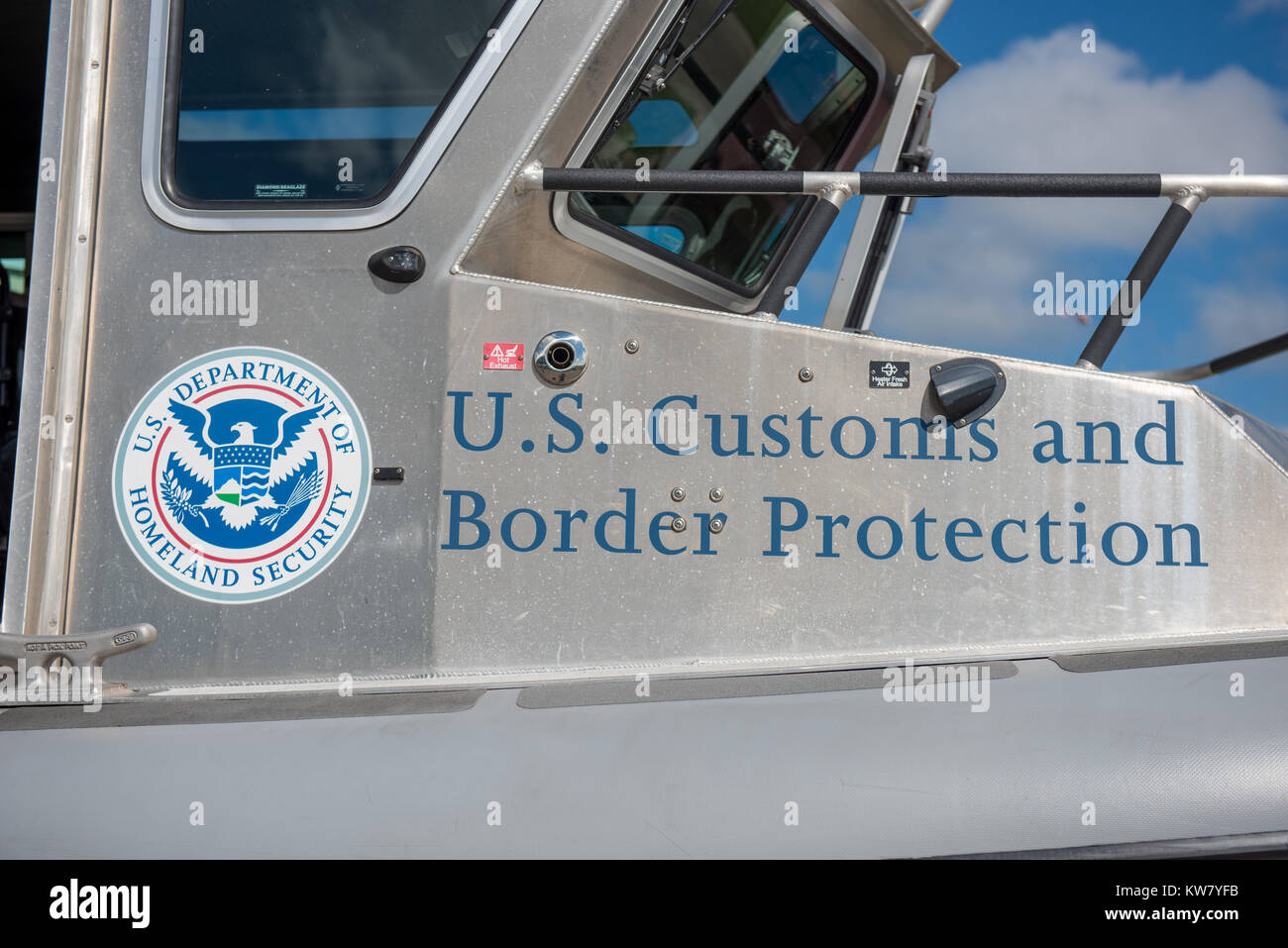 Oshkosh, WI - 24 July 2017:  A US customs and border control homeland security sign on a boat - Stock Image