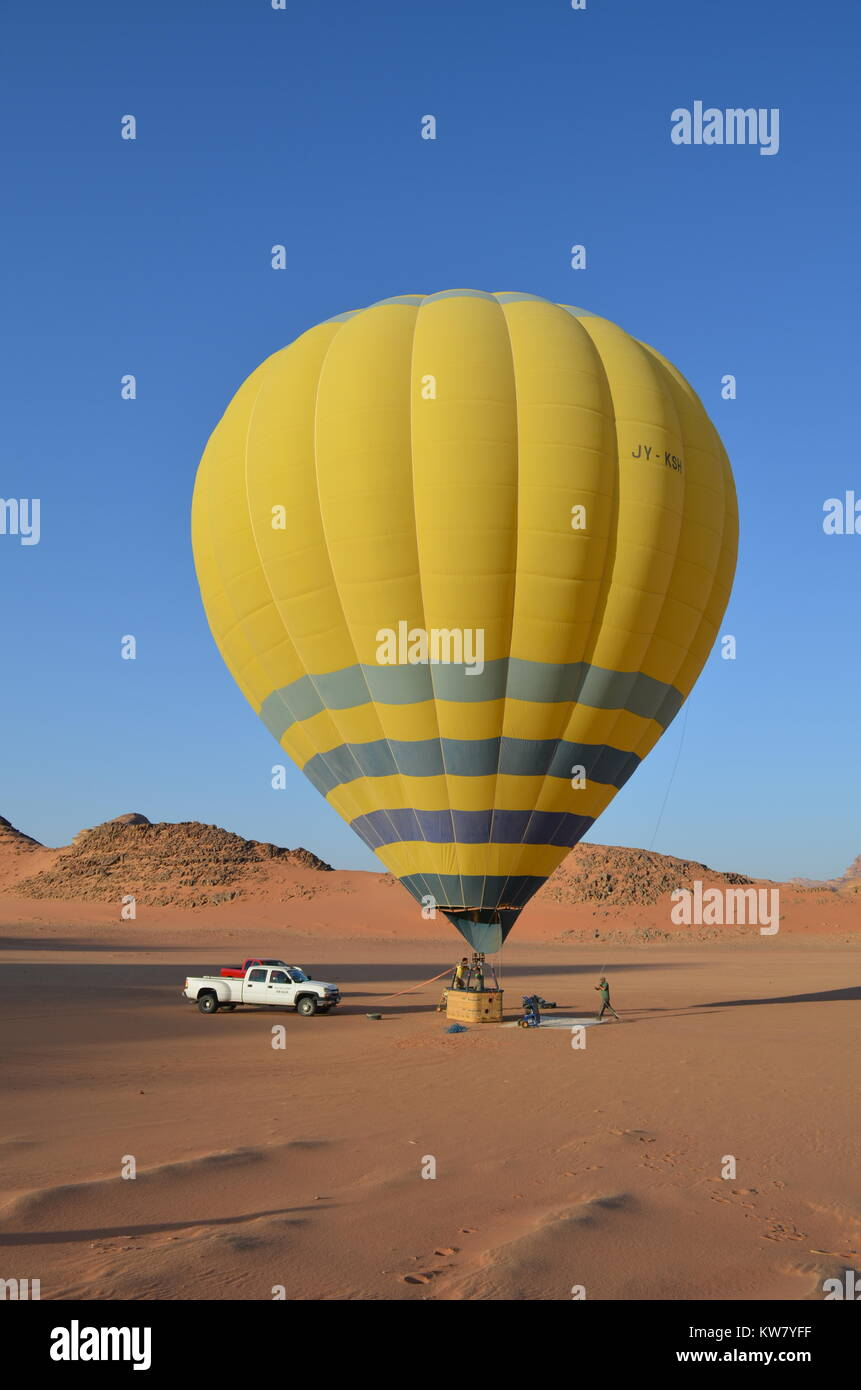 Wadi Rum Hot Air Balloon Jordan National Park - Stock Image