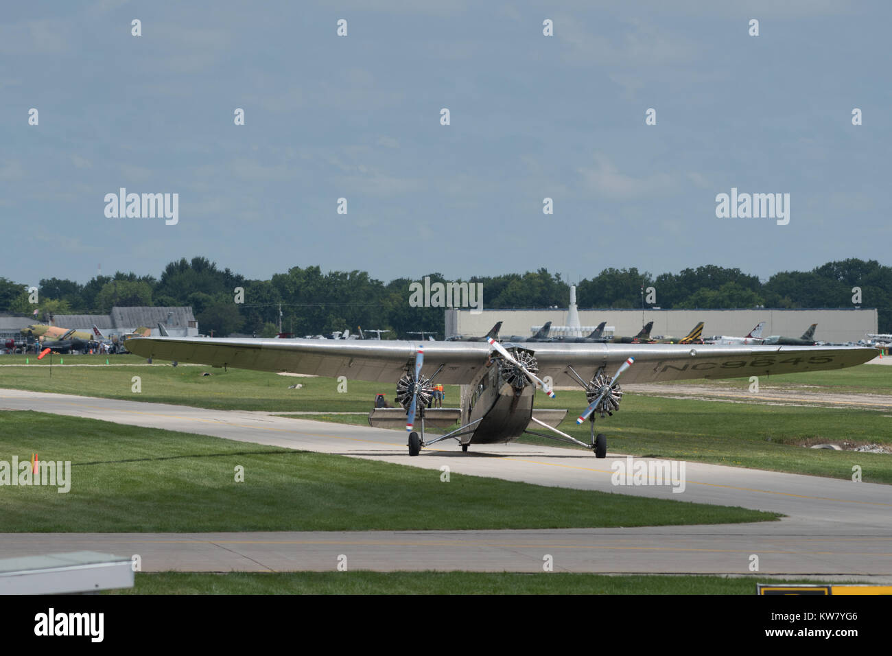 Oshkosh, WI - 24 July 2017:  A Vintage Transcontinental Air Transport Ford model 5-AT-B trimotor aircraft - Stock Image