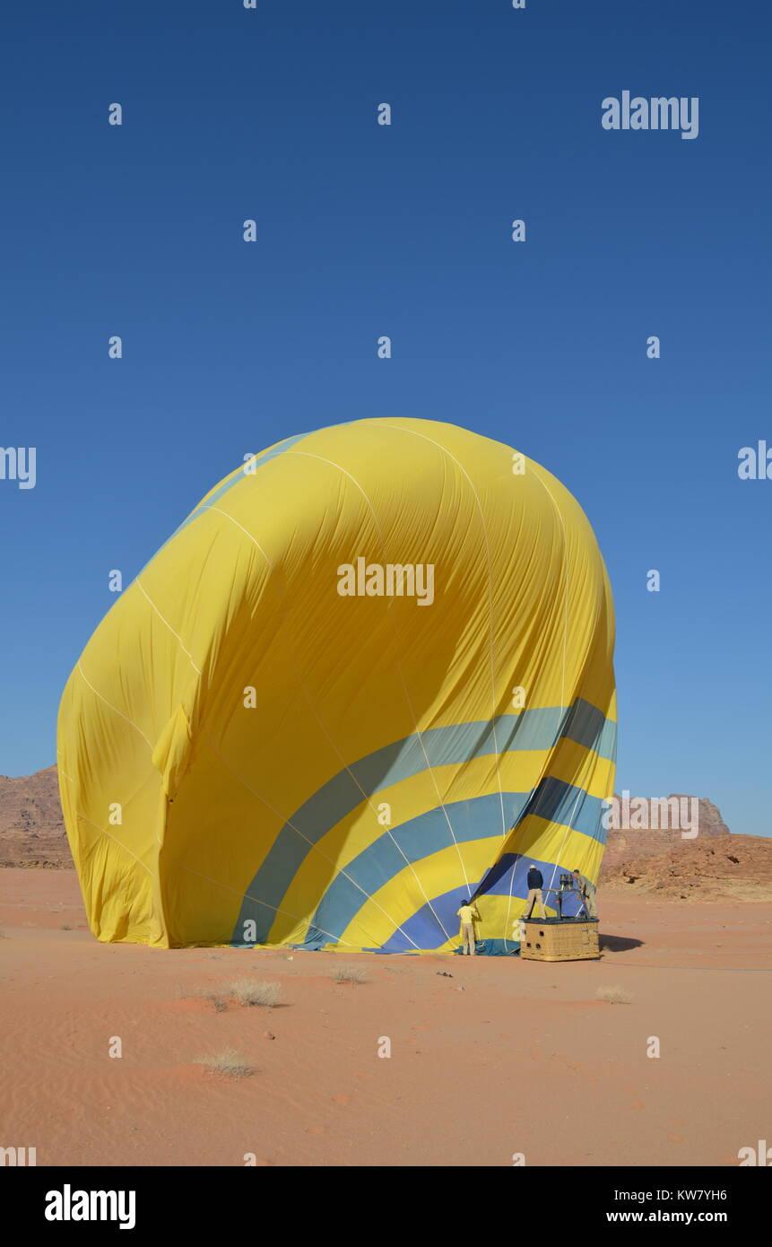 Wadi Rum Hot Air Balloon Jordan National Park - Stock Image