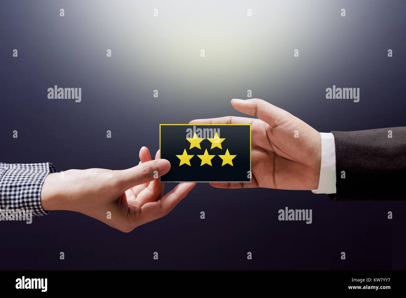 Customer Experience Concept Happy Client Woman Giving A Feedback With Five Star Rating On Card Into Hand Of Businessman