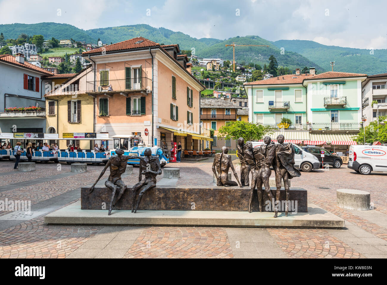 Locarno, Switzerland - May 28, 2016: Iron sculpture in Locarno, Switzerland. Locarno is a town located on the northern - Stock Image