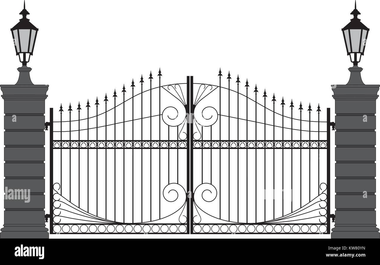 ornate iron gate, silouette in black and white - Stock Image