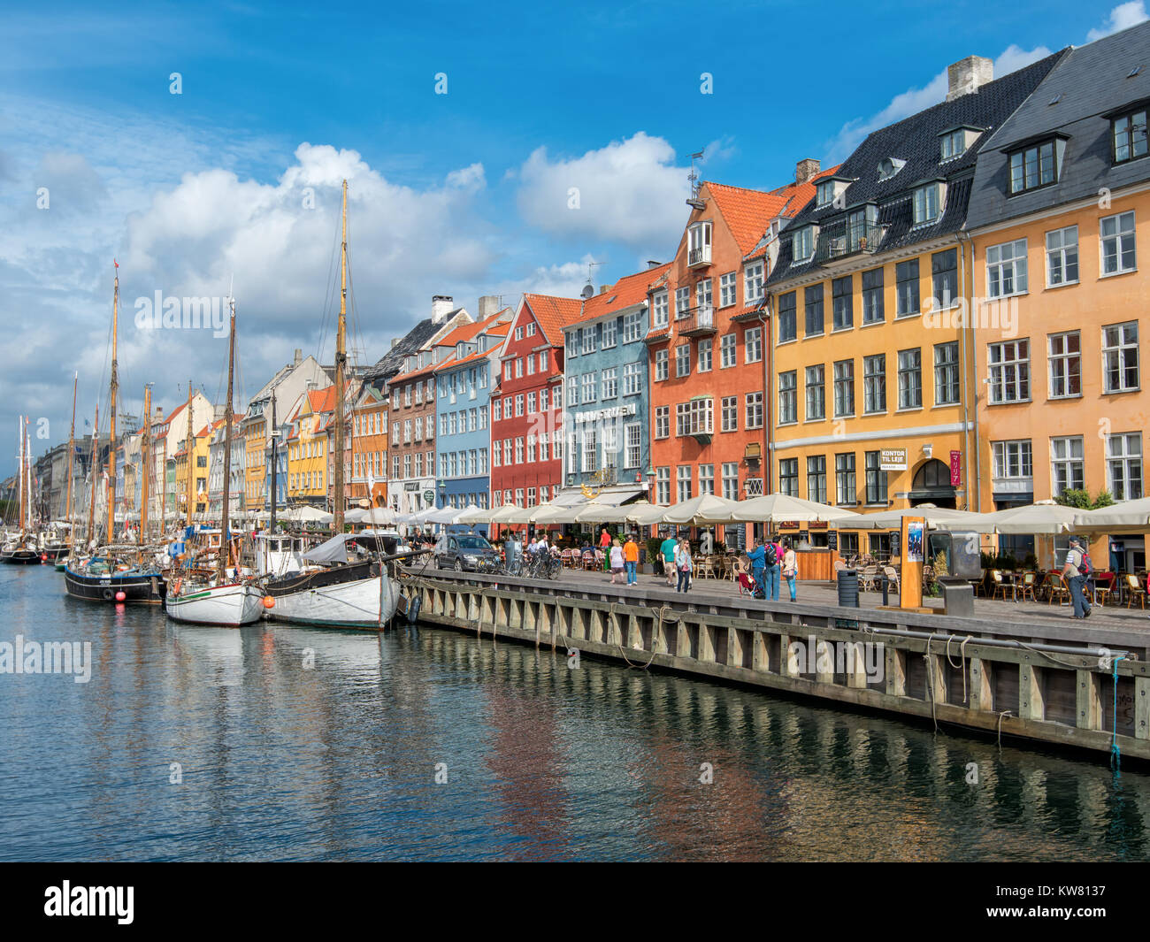 Nyhavn, a 17th century harbor district in the center of Copenhagen and currently a popular waterfront tourist attraction Stock Photo