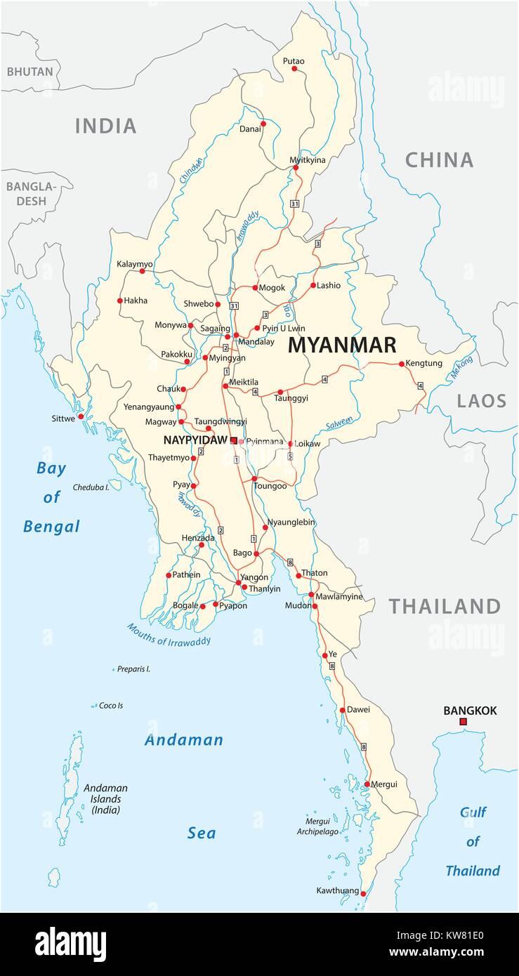 Myanmar Vector Road Map With Important Cities Stock Vector Art