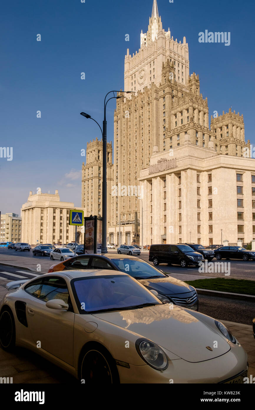 Porsche car parked near the Ministry of Foreign Affairs of Russia main building, Smolenskaya-Sennaya pl, showing Stock Photo