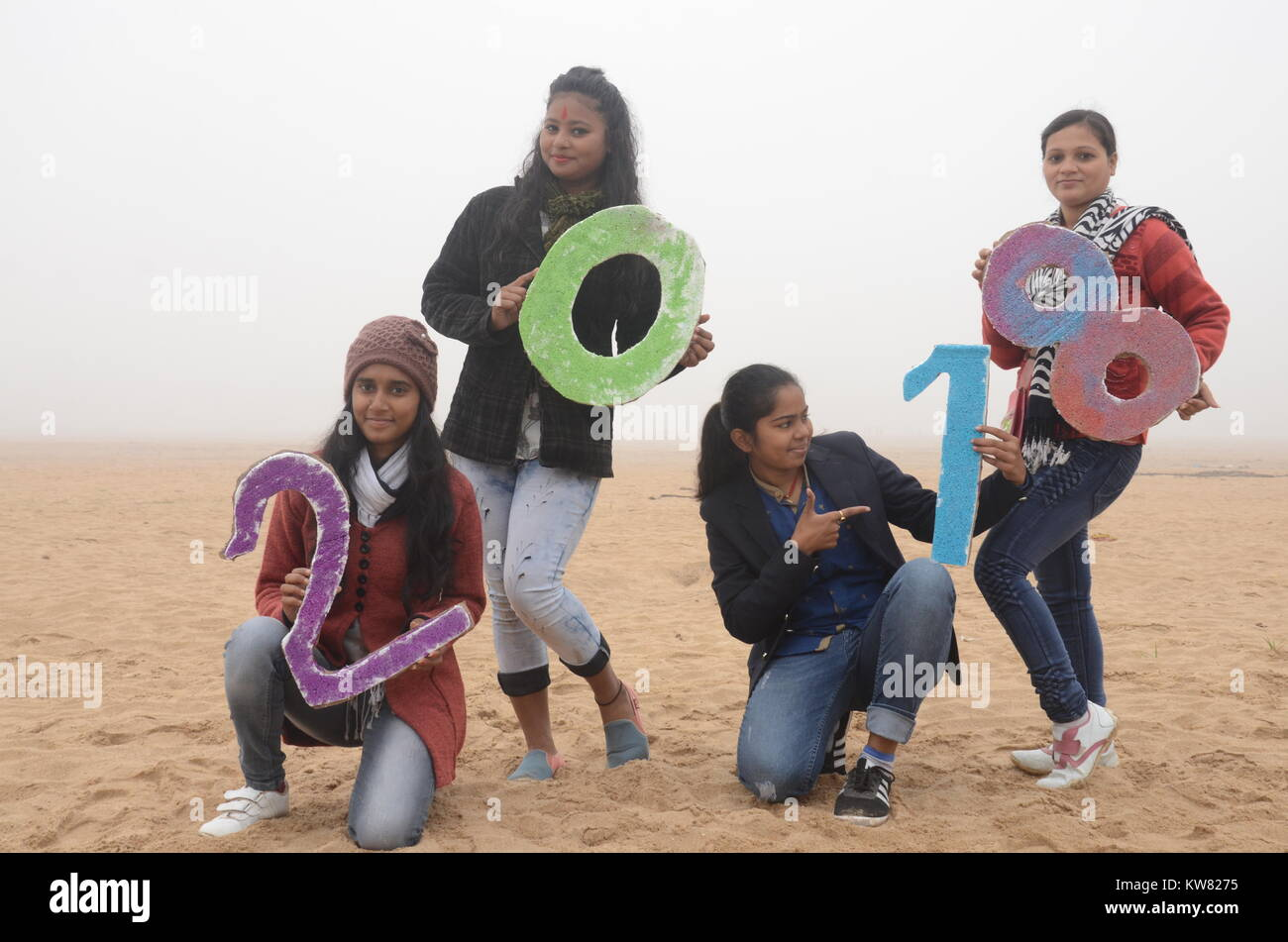 group girls are celebration new year 2018 at Gaya, bihar, India. - Stock Image