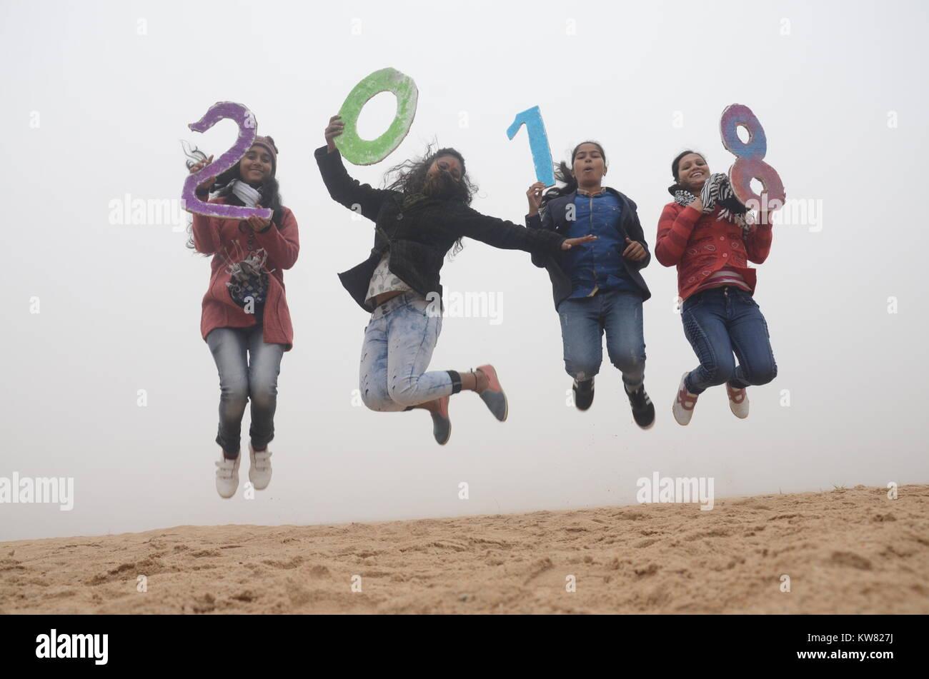 group girls are celebration new year 2018 at Gaya, bihar, India. - Stock Image