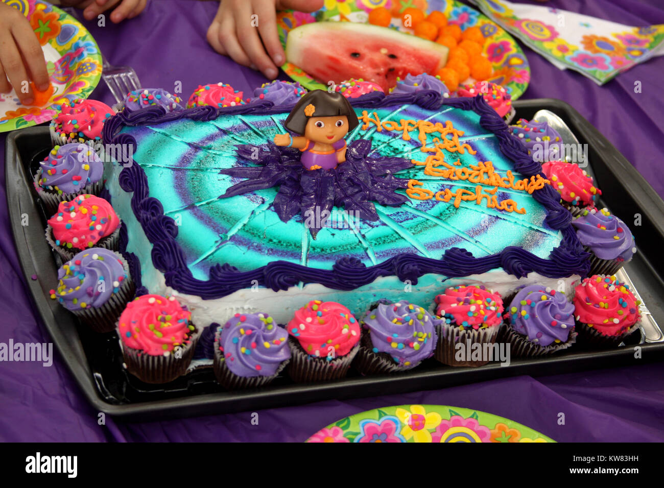 Astonishing Dora The Explorer Birthday Cake Stock Photo 170438173 Alamy Personalised Birthday Cards Veneteletsinfo