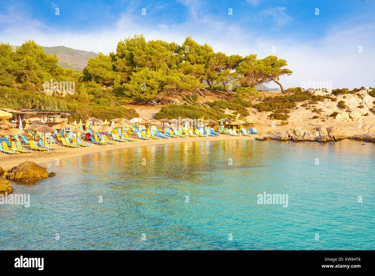 Orange Beach, Chalkidiki or Halkidiki, Greece - Stock Image
