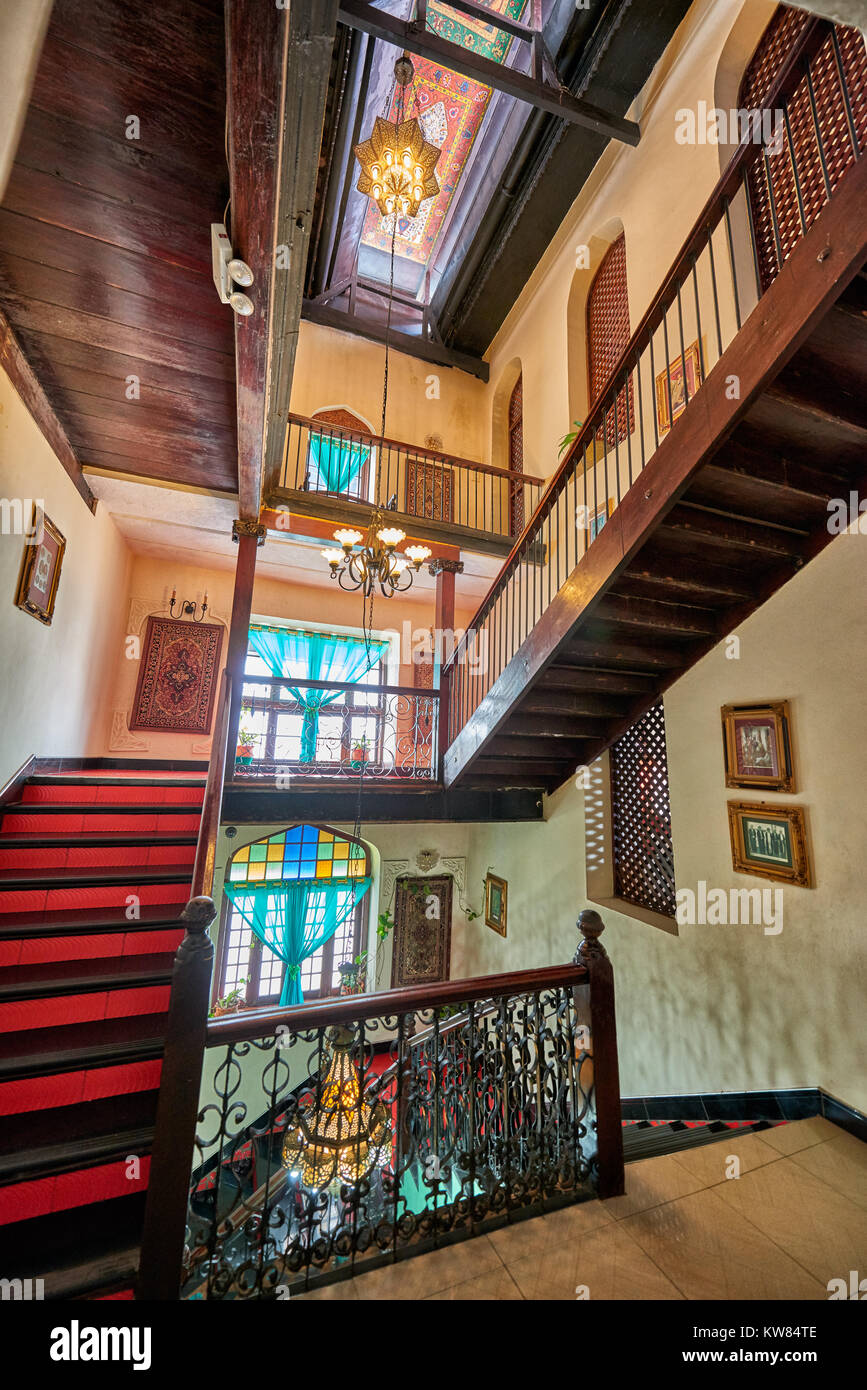 Staircase of a noble hotel in a historical building in the old town of Stone Town, UNESCO World Heritage Site, Zanzibar, - Stock Image