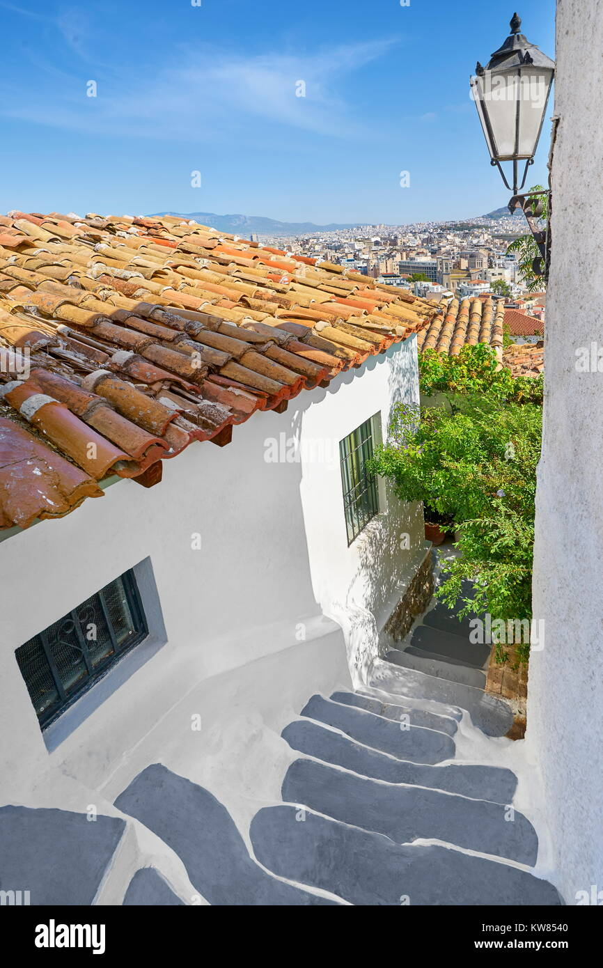 Traditional white wall houses in the Anafiotika quarter under the Acropolis, Athens, Greece Stock Photo