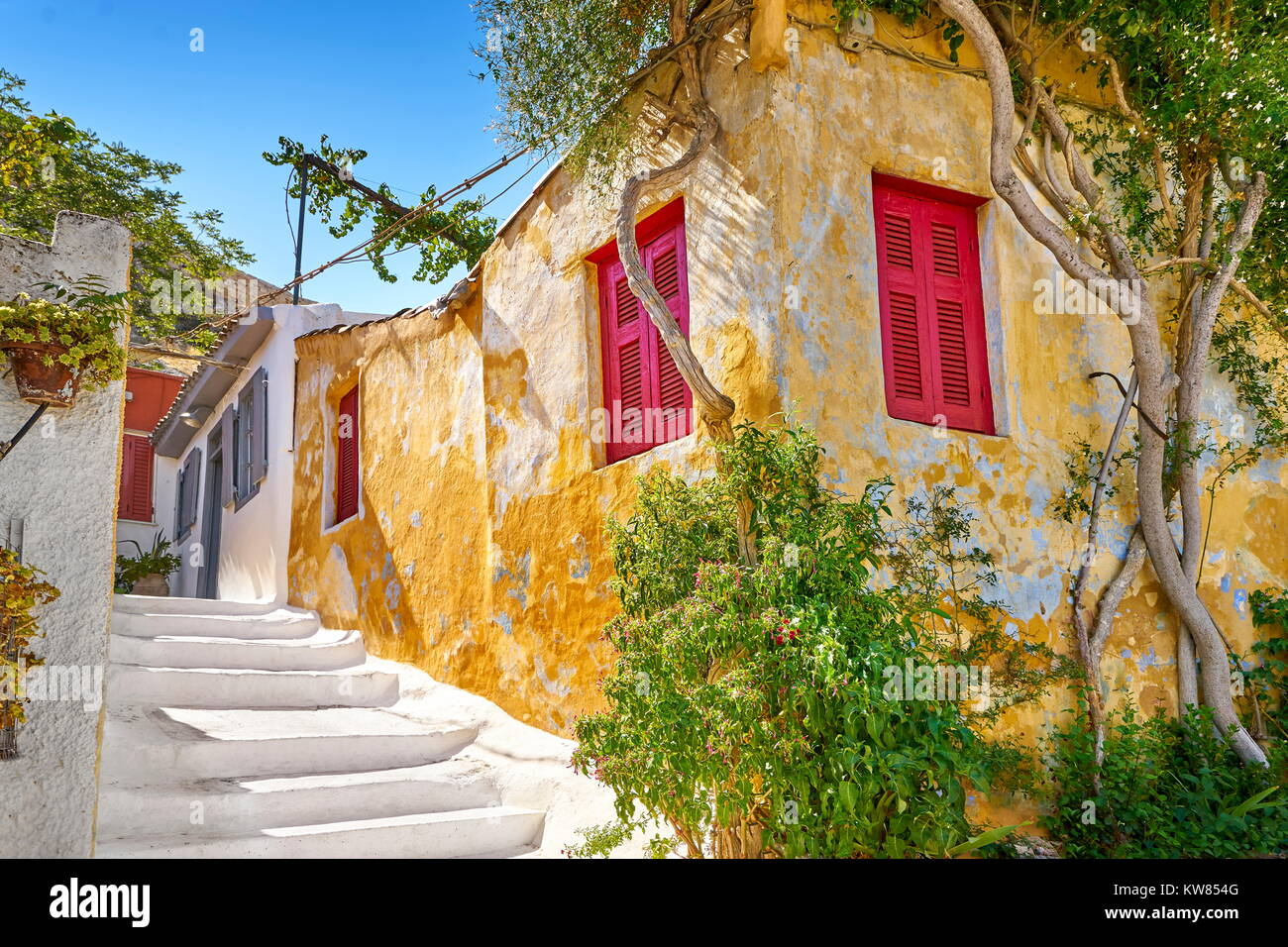 Colorful houses in Anafiotika quarter under the Acropolis, Athens, Greece - Stock Image