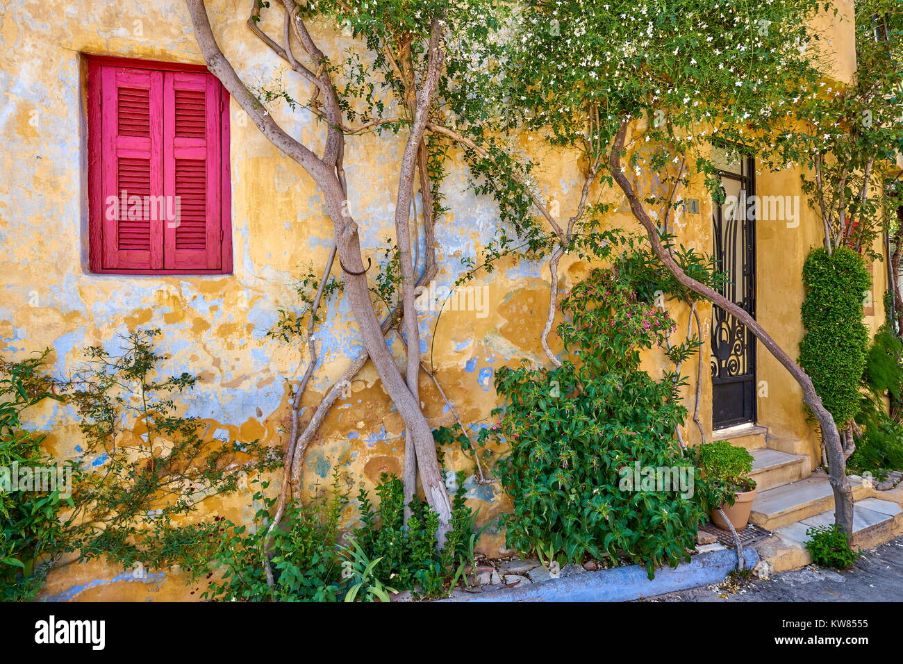 Colorful houses in Anafiotika quarter under the Acropolis, Athens, Greece Stock Photo