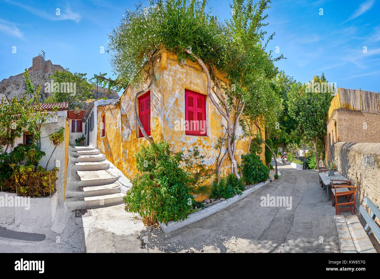 Anafiotika quarter under the Acropolis close to Plaka, Athens, Greece - Stock Image