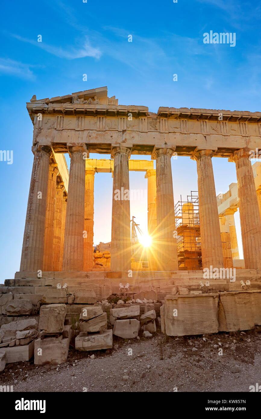 Parthenon at sunset time, Acropolis, Athens, Greece Stock Photo