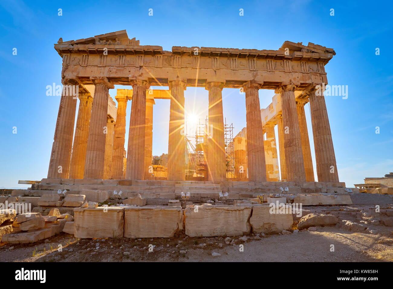 Parthenon at sunset time, Acropolis, Athens, Greece - Stock Image