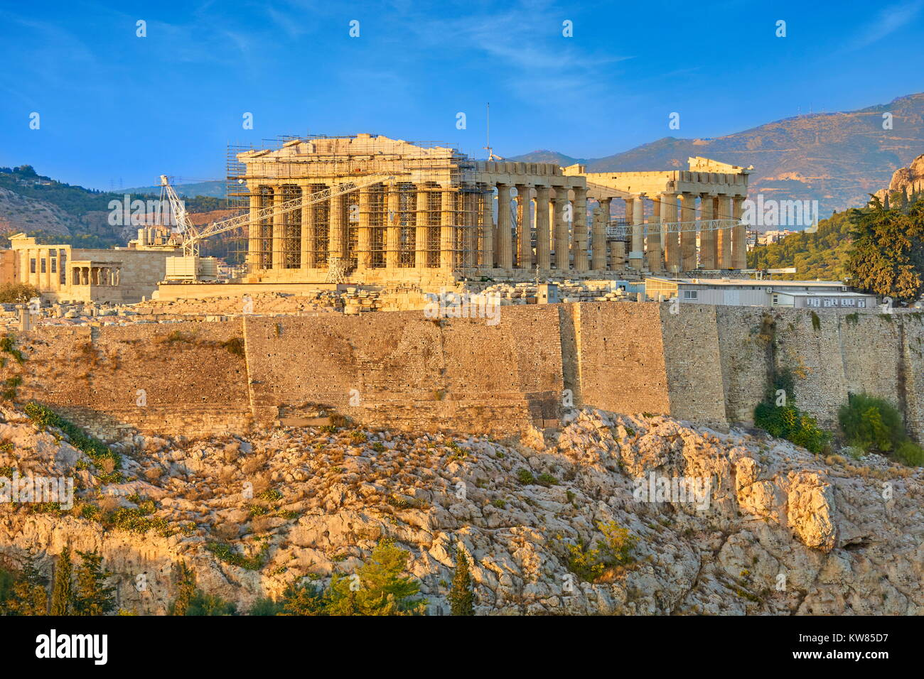 View at Parthenon at sunset time, Acropolis, Athens, Greece - Stock Image