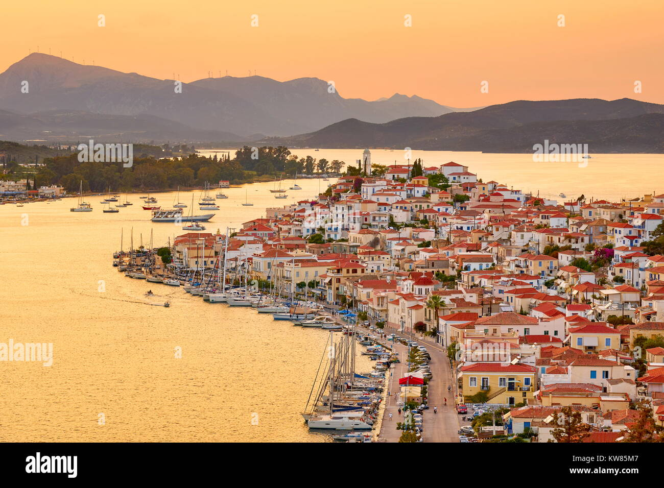 Poros Island, at sunset time, Argolida, Peloponnese, Greece Stock Photo